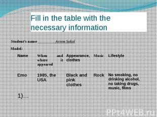 Fill in the table with the necessary information