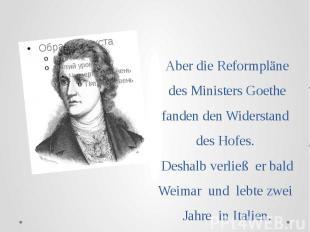 Аber die Reformpläne des Ministers Goethe fanden den Widerstand des Hofes. Desha