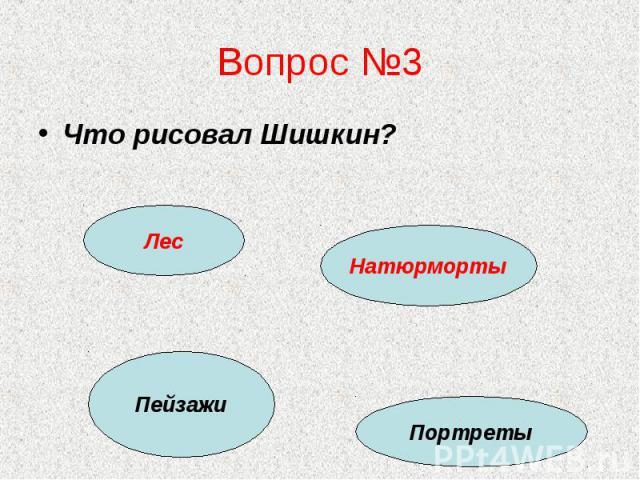 Вопрос №3 Что рисовал Шишкин?