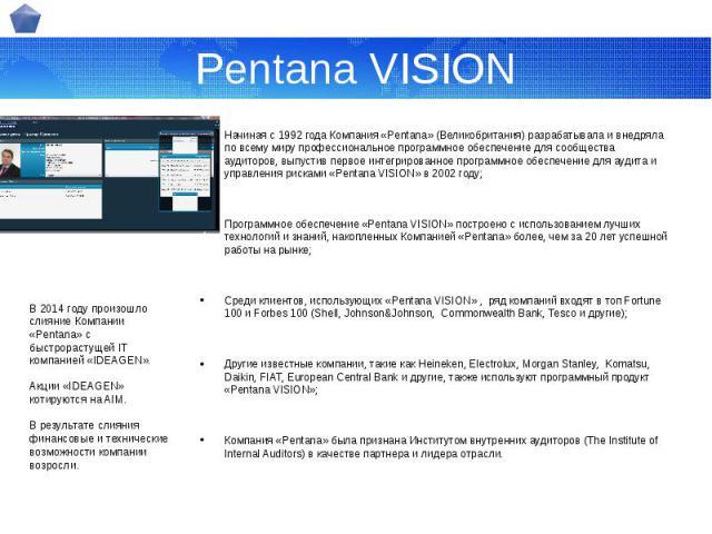 Pentana VISION Начиная с 1992 года Компания «Pentana» (Великобритания) разрабатывала и внедряла по всему миру профессиональное программное обеспечение для сообщества аудиторов, выпустив первое интегрированное программное обеспечение для аудита и упр…