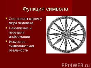 Функция символа Составляет картину мира человека Накопление и передача информаци