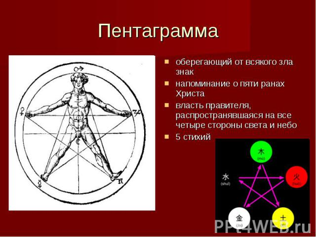 Пентаграмма оберегающий от всякого зла знак напоминание о пяти ранах Христа власть правителя, распространявшаяся на все четыре стороны света и небо 5 стихий