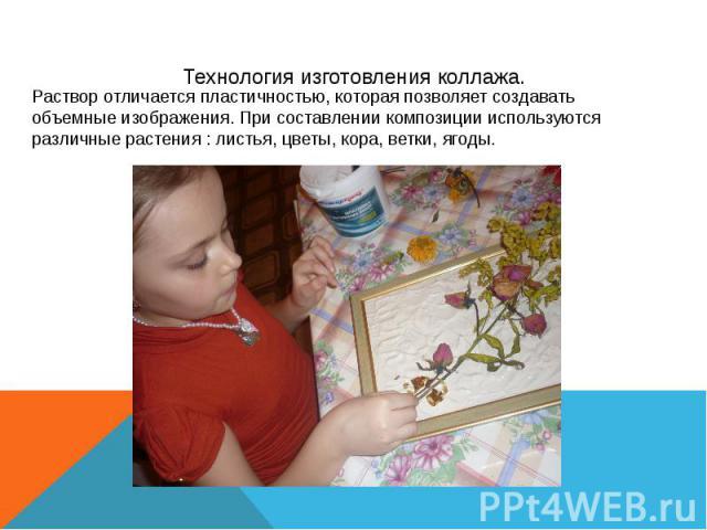 Технология изготовления коллажа. Раствор отличается пластичностью, которая позволяет создавать объемные изображения. При составлении композиции используются различные растения : листья, цветы, кора, ветки, ягоды.