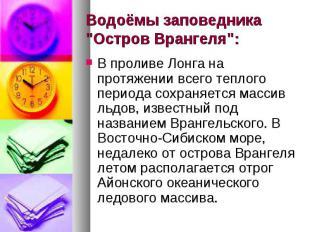 """Водоёмы заповедника """"Остров Врангеля"""": В проливе Лонга на протяжении в"""