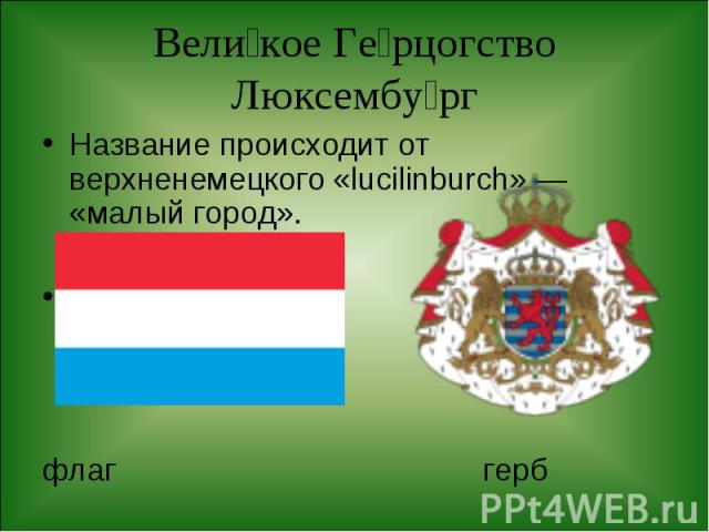 Название происходит от верхненемецкого «lucilinburch» — «малый город». Название происходит от верхненемецкого «lucilinburch» — «малый город». флаг герб