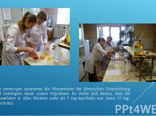 Wir unterzogen zusammen die Wassemuster der chemischen Untersuchung und bestätig