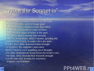 """""""What the Sonnet is"""" Fourteen small broidered berries on the hem Of Circe's mant"""