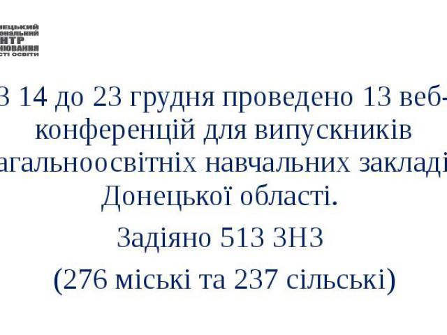З 14 до 23 грудня проведено 13 веб-конференцій для випускників загальноосвітніх навчальних закладів Донецької області. Задіяно 513 ЗНЗ (276 міські та 237 сільські)
