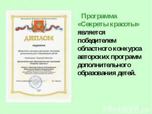 Программа «Секреты красоты» является победителем областного конкурса авторских п