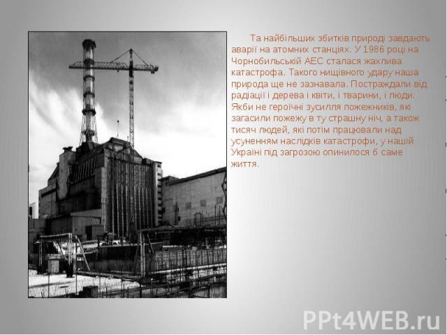 Та найбільших збитків природі завдають аварії на атомних станціях. У 1986 році на Чорнобильській АЕС сталася жахлива катастрофа. Такого нищівного удару наша природа ще не зазнавала. Постраждали від радіації і дерева і квіти, і тварини, і люди. Якби …