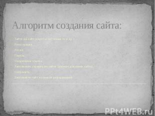 Алгоритм создания сайта: Зайти на сайт (nsportal.ru? maam.ru и др.) Регистрация.