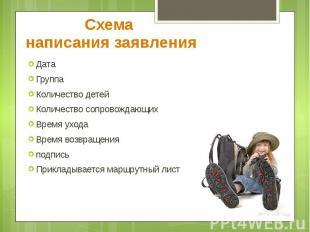 Схема написания заявления Дата Группа Количество детей Количество сопровождающих