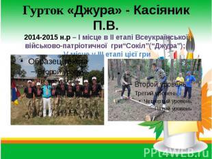 Гурток «Джура» - Касіяник П.В. 2014-2015 н.р – І місце в ІІ етапі Всеукраїнської