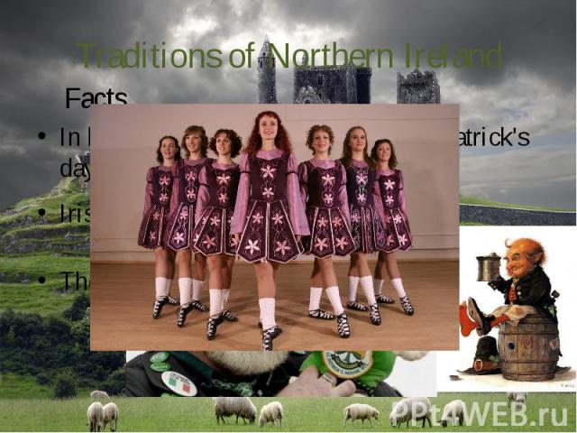 Traditions of Northern Ireland In both Irelands love to celebrate St. Patrick's day