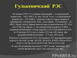 На балансе ГРЭС 17 головных подстанций, с установленной мощностью – 160,1 МВА, и
