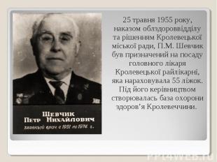 25 травня 1955 року, наказом облздороввідділу та рішенням Кролевецької міської р