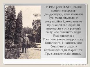 У 1958 році П.М. Шевчик домігся створення дендропарку, який повинен був мати лік