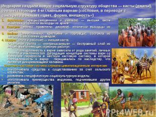 Индоарии создали новую социальную структуру общества — касты (джаты), соответств
