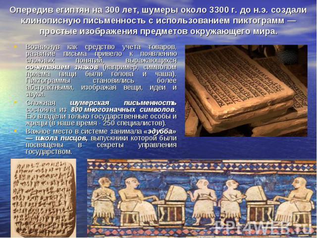 Опередив египтян на 300 лет, шумеры около 3300 г. до н.э. создали клинописную письменность с использованием пиктограмм — простые изображения предметов окружающего мира. Возникнув как средство учета товаров, развитие письма привело к появлению сложны…