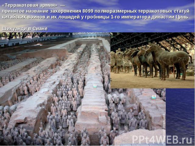 «Терракотовая армия»— принятое название захоронения 8099 полноразмерныхтерракотовыхстатуй китайских воинов и их лошадей у гробницы 1-го императора династииЦинь ШихуандивСиане