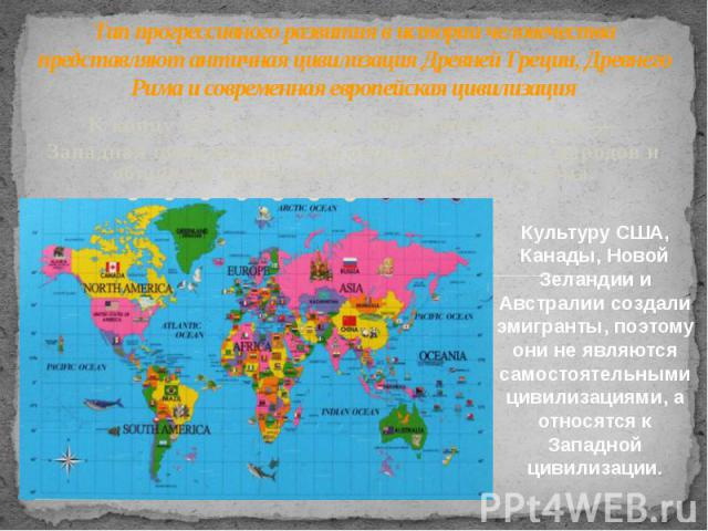 Тип прогрессивного развития в истории человечества представляют античная цивилизация Древней Греции, Древнего Рима и современная европейская цивилизация К концу XXв. сложилось обобщенное понятие — Западная цивилизация, что отражает единство на…