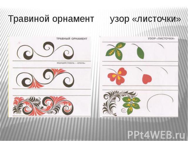 Травиной орнамент узор «листочки»