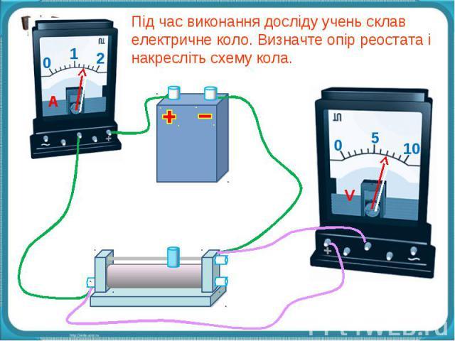 Під час виконання досліду учень склав електричне коло. Визначте опір реостата і накресліть схему кола.
