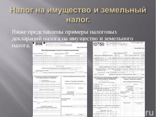 Ниже представлены примеры налоговых деклараций налога на имущество и земельного