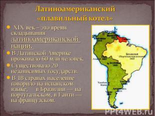 XIX век – это время складывания латиноамериканской нации. XIX век – это время ск