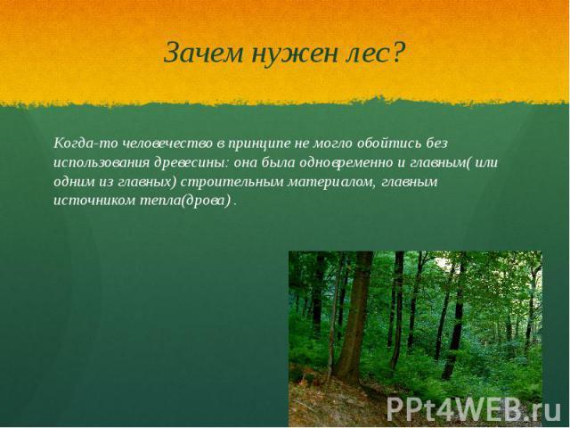 Зачем нужен лес? Когда-то человечество в принципе не могло обойтись без использования древесины: она была одновременно и главным( или одним из главных) строительным материалом, главным источником тепла(дрова) .
