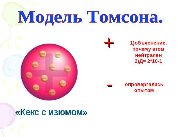 1)объяснение, почему атом нейтрален 2)Д= 2*10-1