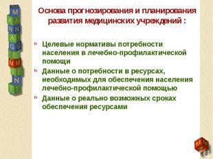 Основа прогнозирования и планирования развития медицинских учреждений : Целевые