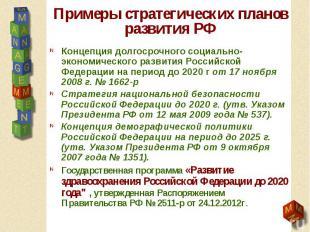 Примеры стратегических планов развития РФ Концепция долгосрочного социально-экон