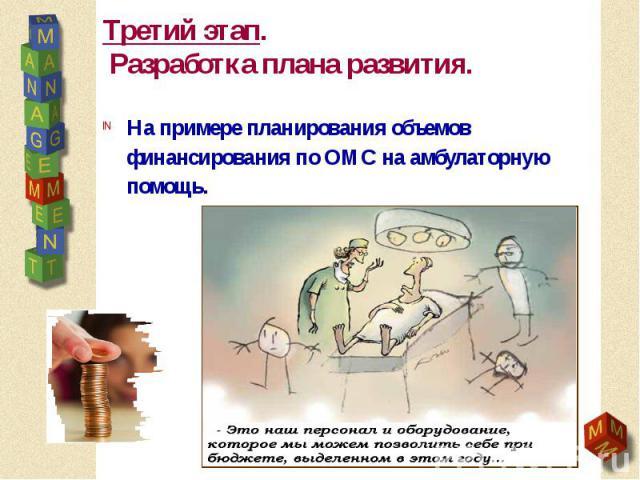 Третий этап. Разработка плана развития. На примере планирования объемов финансирования по ОМС на амбулаторную помощь.