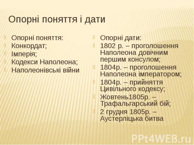 Опорні поняття і дати Опорні поняття: Конкордат; Імперія; Кодекси Наполеона; Наполеонівські війни