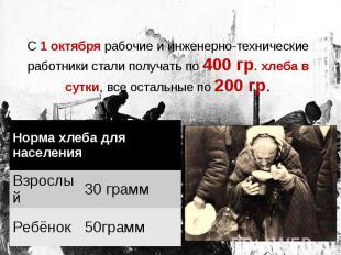 С 1 октября рабочие и инженерно-технические работники стали получать по 400 гр.