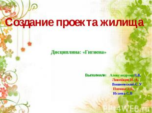 Создание проекта жилища Дисциплина: «Гигиена» Выполнили: Александрова Л.В, Линей