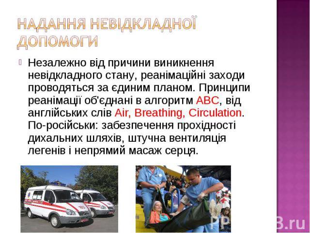 Незалежно від причини виникнення невідкладного стану, реанімаційні заходи проводяться за єдиним планом. Принципи реанімації об'єднані в алгоритм ABC, від англійських слів Air, Breathing, Circulation. По-російськи: забезпечення прохідності дихальних …