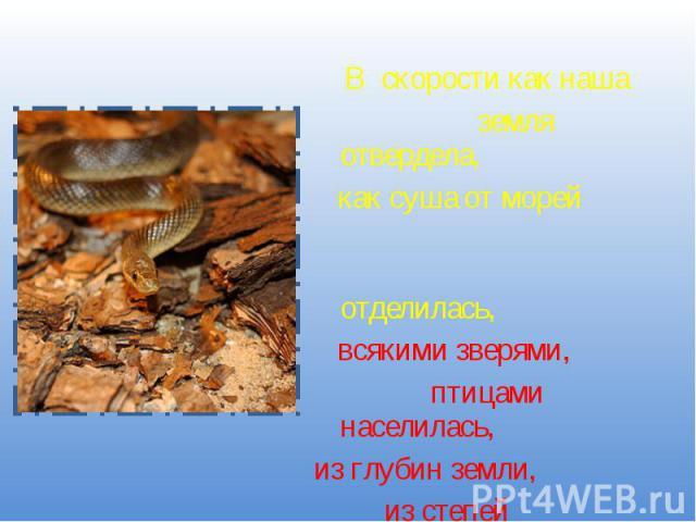 В скорости как наша земля отвердела, как суша от морей отделилась, всякими зверями, птицами населилась,из глубин земли, из степей прикаспийских золотой змей-полоз выполз.