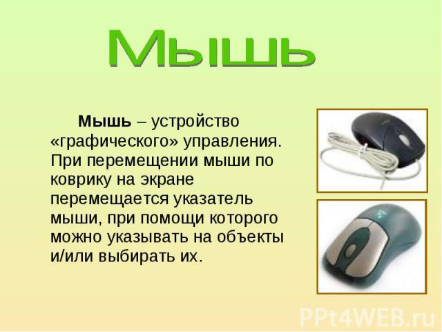 Мышь – устройство «графического» управления.При перемещении мыши по коврику на экране перемещается указатель мыши, при помощи которого можно указывать на объекты и/или выбирать их.