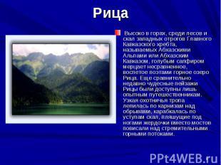 Высоко в горах, среди лесов и скал западных отрогов Главного Кавказского хребта,