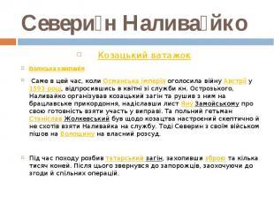 Севери н Налива йко Козацький ватажок Волоська кампанія Саме в цей час, ко