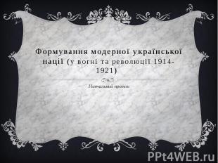 Формування модерної української нації (у вогні та революції 1914-1921) Навчальни