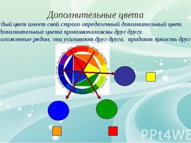 Каждый цвет имеет свой строго определенный дополнительный цвет. Два дополнительных цвета противоположны друг другу. Расположенные рядом, они усиливают друг друга, придают яркость друг другу.
