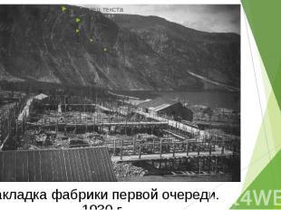 Закладка фабрики первой очереди. 1930 г.