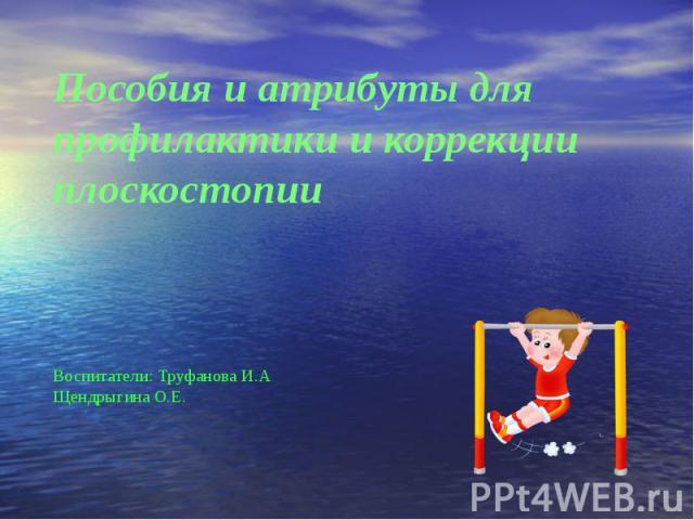 Пособия и атрибуты для профилактики и коррекции плоскостопии Воспитатели: Труфанова И.А Щендрыгина О.Е.