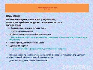 9. Рефлексия деятельности на уроке (2–3 мин) 1. Фиксация содержания, которое был