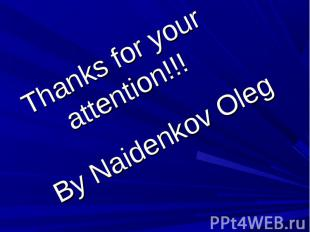 Thanks for your attention!!! By Naidenkov Oleg