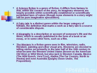 A Science fiction is a genre of fiction. It differs from fantasy in that, within