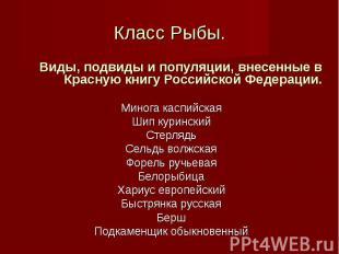 Виды, подвиды и популяции, внесенные в Красную книгу Российской Федерации. Виды,